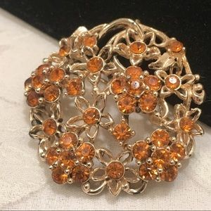 Vintage Gold Rhinestone Patterned Flower Brooch